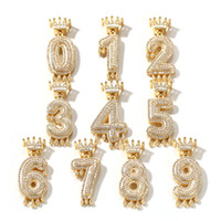 Custom Crown Drip Numbers Bling Bling Iced Out Necklace For ...