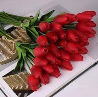 Beauté Toucher Réel Fleurs De Latex De Fleurs De Tulipes Artificielle Bouquet Faux Bouquet De Mariée Décorer Des Fleurs De Mariage GB156