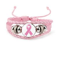 Nieuwe Borstkanker Awareness Armband Voor Vrouwen Lint Charme Geloof Hoop Liefde Gevlochten Lederen Touw Wrap Bangle Fashion Sieraden
