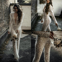 2020 Lace Wedding Jumpsuits Deep V Neck Sequins Long Sleeve ...