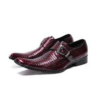 Motif Hommes Parti snakeskin Chaussures en cuir italien main d'affaires Oxfords Chaussures Rouge Boucle Monk Bracelet homme Chaussures de mariage