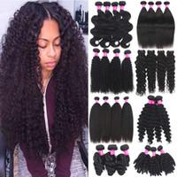 Paquetes de pelo vírginal brasileño onda corporal onda suelta recta rizada 100% sin procesar cabello humano tejidos peruanos malayos indios de pelo indio
