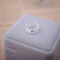 Sterling silver semplice scavato-out anello foglia multipli foglie anello anello letteraria coreano ramo d'ulivo apertura della giuntura