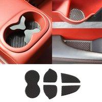 탄소 섬유 자동 컵 홀더 매트 도전자 2015+ 인테리어 액세서리에 대 한 MAT 도어 슬롯 매트 스티커