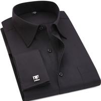 남성 복장 셔츠 클래식 검은 프랑스 커프스 단추 Mens 비즈니스 드레스 롱 슬리브 셔츠 라펠 남자 사회 셔츠 아시아 4XL5XL6XL