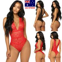 Sexy Frauen schnüren sich Babydoll Nachtwäsche Unterwäsche Nachtwäsche Strampler AU New Jumpsuit ärmel Bodycon Top Frauen Kleidung
