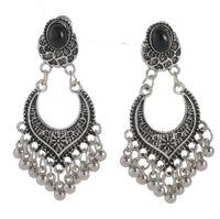 Designer jewelry earrings for women Vintage black antique silver rhinestone stud earrings with small  tassel earrings