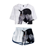 2019 New Drop Shopping 2 pzas 3d Summer Two Pieces Sets Mujeres Ropa de moda Chica Hot Harajuku Camisetas Shorts Y19062601