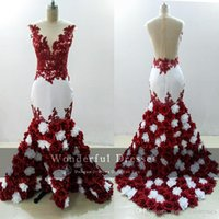 2017 3D Rose Flowers Mermaid Prom Dresses Sexy Burgundy And ...