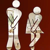 домашний декор стены зеркала 3D зеркало наклейки Смешные туалет Туалет двери Вход Вход Мужчины Женщины ванной DIY стикер стены Таблички Бар cny1908