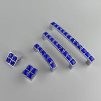 Serie de cristal nuevo cristal de diamante azul oscuro muebles manija de la puerta Dresser cajón Armario armarios de cocina Armario Cómoda Jale las perillas de puertas