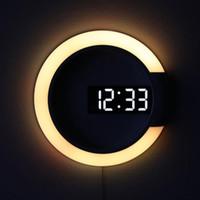 3D LED Table Digital Horloge d'alarme Miroir Hollow Wall Montre Horloge Moderne Design Nightlight pour la maison Salon Décorations