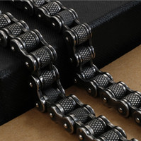 Retro Heavy Brush Black Stainless Steel Motorcycle Chain Men...