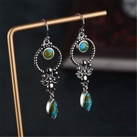 Vintage Green Stone Earrings for Women Nationality Jewelry A...