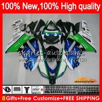 Bodys + 8Gifts para Kawasaki ZX 6R 6 R 600cc ZX636 07 08 34HC.11 ZX636 ZX600 600 ZX6R 07 08 ZX 636 ZX6R 2007 2008 kit de carenado azul verde