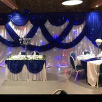 3 * 6 متر أبيض اللون الجليد الحرير الزفاف الخلفيات مع الملكي الأزرق غنيمة المرحلة خلفية الستارة ستارة الزفاف استحمام الطفل حزب decortaions