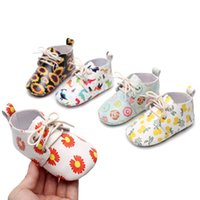Infant Cartoon Print Single Shoes Baby Lace- up Shoes PU Leat...
