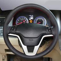 Araba Aksesuarları Deri El-dikişli Araba Direksiyon Kapağı Honda CRV CR-V 2007 2008 2009 2010 2011