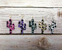 Cores da queda Cheetah Leopard Cactos Pu Brincos couro gancho para Forma Mulheres Único Cactus Statament Light Weight Brincos