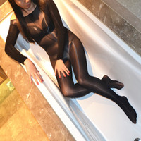 Sexy Lingerie Teddy Women Crotchless Sheer Bodystocking Full Body Shiny Pantyhose High Elastic Tights Body Suit LY191222