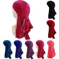 للجنسين الرجال سيدة المخملية عارضة الحرير تنفس باندانا هات العمامة قبعات دو Durag أغطية الرأس موضة جديدة