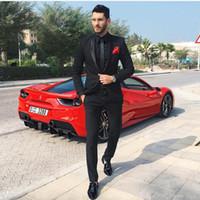 Siyah İki Adet Erkek Suits Slim Fit Düğün Damatlar Smokin Ucuz Bir Düğme Örgün Balo Takım Elbise (Ceket + Pantolon)