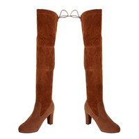 Hot Sale-Drop Shipping WENYUJH Women Thin High Heel Long Stiletto Boots Women Over the Knee Boots Flat Stretch Sexy Fashion Shoes