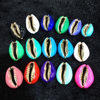 Natural 20pcs colorido mezclado chapados en oro Cowrie Shell Charm Conector colgantes de oro Mar Playa Conchas Sin taladro, de la piedra preciosa rebordea joyería
