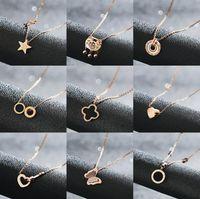 Luxus-Designer-Halsketten für Frauen-Schmucksachen Rose Gold Ketten Titan Edelstahl Klee Halskette Wholsale freies Verschiffen