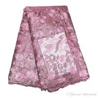 French Tulle Tela Material de encaje Vestidos de tela de encaje Nigeria Bordado Lila Magenta Tela de encaje africano para mujeres 12