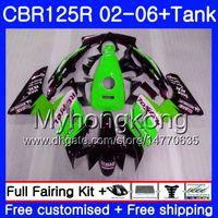 Body Repsol Green + Tank voor Honda CBR-125R 125CC CBR125RR CBR125R 02 03 04 05 06 272HM.21 CBR 125 R 125R 2002 2003 2004 2005 2006 Kuip