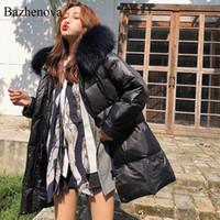 Bazhenova Kadınlar Kış Gevşek Coat Kızlar Kapşonlu Sıcak Tatlı Açık Kadın Büyük Beden Kalınlaşmak Ceket Bayan Moda Coats R188 Tops