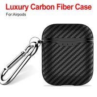ألياف الكربون تصميم تبو سيليكون لينة حالة لابل airpods الفاخرة حالة صدمات واقية غطاء الحقيبة مع هوك حزمة مربع التجزئة