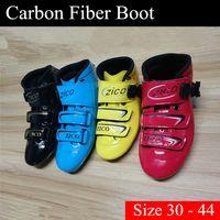 [Коньки загрузки] Инлайн Speed Skate обувь Верхняя Загрузочные 2-х слоев углеродного волокна для взрослых Женщины Мужчины Дети Дети Мальчик Девушки Размер 30-44