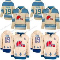 Felpe con cappuccio da uomo 19 Joe Sakic Jersey Quebec Nordiques Hockey Jerseys Beige Joe Sakic Felpe Felpe con cappuccio Spedizione gratuita