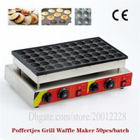 Elektrikli Poffertjes Izgara 220 V 110 V Paslanmaz Çelik Poffertjes Waffle Makinesi Mini Krep Baker 50 Delik CE Yepyeni