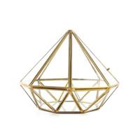 Wunderschöne diamantförmige Glas Terrariumtopf modern geometrischer Messing saftiger Pflanzer-Miniatur-Gewächshaus kreativer Metalldraht-Blumenvase