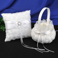 لوازم الزفاف خاتم سلال الفتاة زهرة مجموعات حفل زفاف الأبيض 3D الورود الرباط حفل تخزين البتلة
