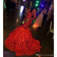 Sparkly Sequined Red Long Mermaid Prom Dresses 2019 New Long...