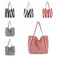 Women Canvas Striped Shopping Bag Vintage Ladies Casual Shou...