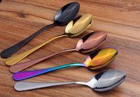 스테인리스 양식기 세트 다채로운 티타늄 도금 스푼 포크 나이프 세트 서양 스테이크 칼 스푼 식기 식탁 HHA419