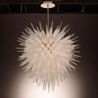 Modernas lámparas grandes iluminaciones Clear Transparent Ball Crystal Chandelier LED lámpara colgante Murano Vidrio Colgante-Lámpara para el hogar