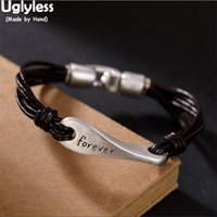 Uglyless Unisex Multi- layer Real Leather Bracelets for Men W...