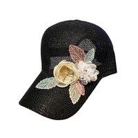 design di lusso della moda scintillante paillettes fiore estate 3d traspiranti cappelli protezioni della sfera di baseball sole cave per le donne