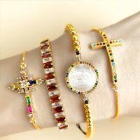 حار بيع إنس قوس قزح مجوهرات سوار الصليب الصولجان الماس 18K مطلية بالذهب سوار قابل للتعديل للحزب هدية JewelryBrb68