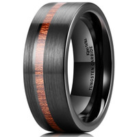 New 8MM Wood Inlaid Black Tungsten Carbide Ring Unisex Fashi...