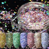 1g / box Nail art Laser Colorido Quebrado Glitter projetos holográficos DIY Irregular Lantejoulas Pó Prego ongles decoração nail art