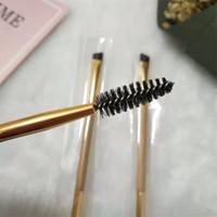 Oro marca T Cepillo Doble Fin de bambú mango angular Brocha Contorno de ojos conforman pincel