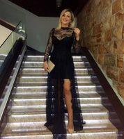 Линия черная кружева высокой шеи с длинным рукавом сексуальные платья выпускного вечера длинные дешевые боковые порезы 2019 новая вечеринка элегантные вечерние платья