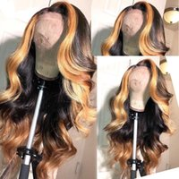 Highlight Blonde Brazilian Remy Human Hair Lace Front Wigs f...